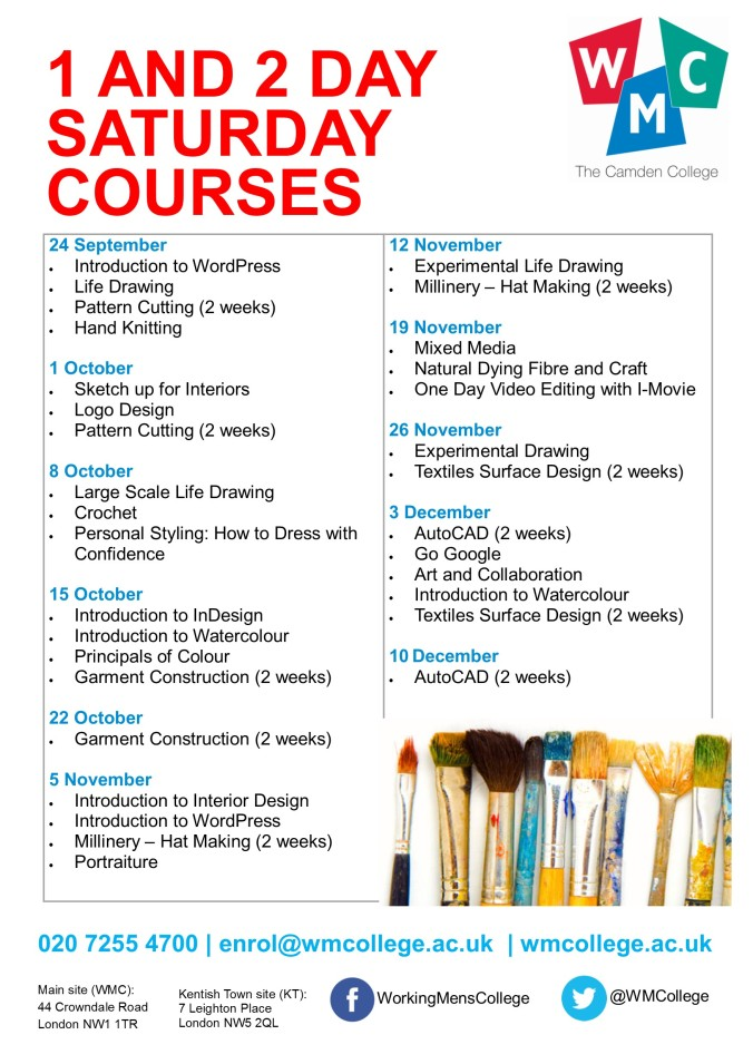 one and two day saturday courses 250816