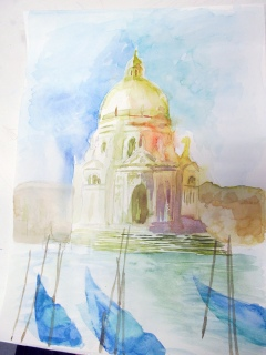 Meg T Santa Maria with gondolas venice watercolour